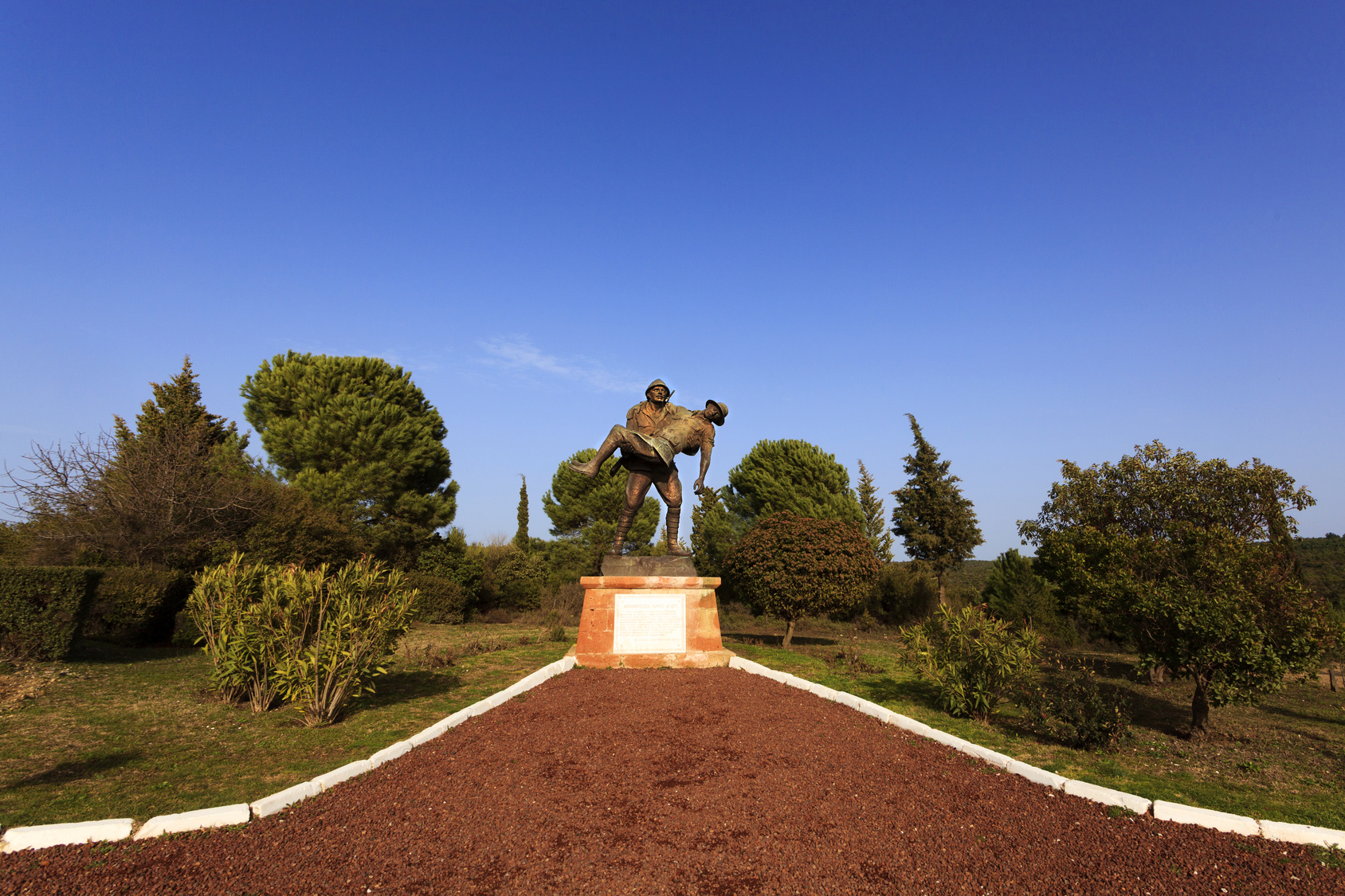 Sculpture of a Turkish Soldier Carrying an Anzac Soldier during the first world war in Gallipoli, anakkale, Turkey