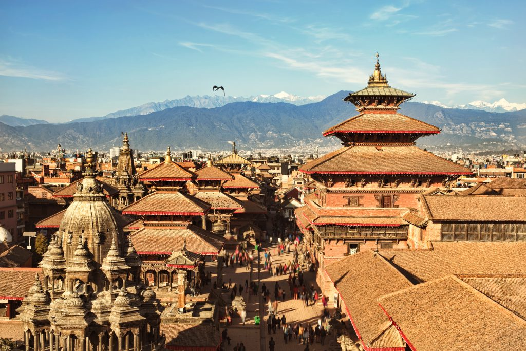 KATHMANDU, NEPAL - CIRCA DEC, 2014: View of the Patan Durbar Square. One of the 3 royal cities in Kathmandu, a very popular tourist place.
